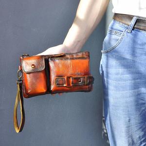 2020 Hot Sale Original Leather men Fashion Travel Fanny Waist Belt Bag Chest Pack Sling Clutch Bag Design Phone Case Male 8135-o