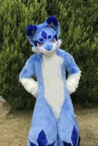 Suit pelo lungo Husky Dog Fox del costume della mascotte di Halloween Fursuit
