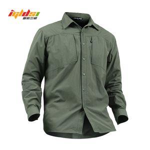 Igldsi Erkekler Hızlı Kuru Askeri Stil Taktik Gömlek Yeni Yaz Çıkarılabilir Uzun Kollu Swat Combat Ordu Kamuflaj Gömlek