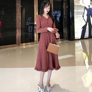 kgl8n 2020 nouvelle et zhang hiver mince manches longues col V femmes Hepburn à l'automne Xiu Xiu Qun zhang Qun robe skir bas jupe manches longues