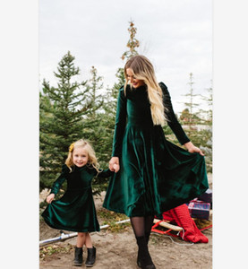 Mother And Daughter Velvet Long Sleeve Dress Girls Falbala Fly Sleeve Pleuche Dress Mommy And Me Matching Clothing A4669