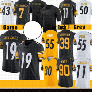 Minkah Fitzpatrick Juju Smith-Schuster 90 T.J. Watt Devin Bush Jersey de football 11 Chase Claypool Conner Ben Roethlisberger Ward Ryan Shazier