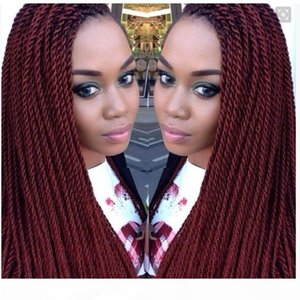 Venta caliente Borgoña Twist Braidy Lace Front Wigs Full Hand Tied Synthetic Lace Front Wig para los afroamericanos