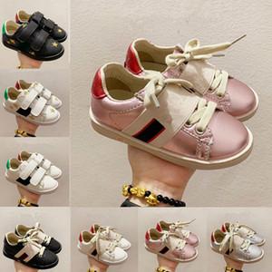 2021 niños zapatos casuales zapatillas de cuero mate planas planas plana zapato serpiente serpiente corazón chaussures entrenadores verde rojo rayas bordados