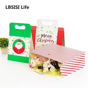LBSISI Life 10pcs Protable Box Green Red New Year Gift Baking Snack Packaging DIY Handmade Wedding Birthday Party Supplies