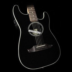 Massello di mogano Top St Stratacoustic standard Nero chitarra elettrica acustica Scacchiera Rosetta, tastiera in palissandro Ponte, Vintage Tuner