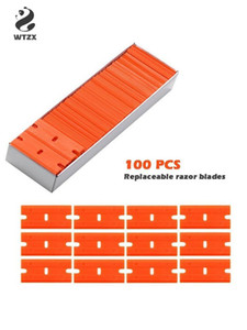 100pcs lot Plastic Scraper Blade Lable Clean Razor Glue Remover Window Sticker Squeegee Glass Cleaning Tool