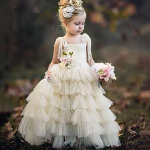 Flower Girls Dresses For Weddings Pink Lace Appliques 3D Floral Flowers Ruffles Tiered Birthday Girl Communion Pageant Gowns