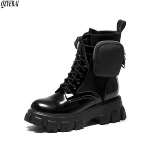QZYERAI New style Genuine leather Martin boots The side bags Female boots Women's British style Cattle female Women shoes