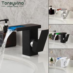 Torayvino LED حمام الحنفية وحيد مقبض حوض المغسلة الحنفيات الشلال RGB تغير لون بدعم من تدفق المياه خلاط مياه الحنفية