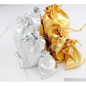 Gauze Satin Jewelry Bags Jewelry 100Pcs Lot Silver Gold Plated Christmas Gift Pouches Bag 7X9Cm 9X12Cm 13X18Cm Uzkjo