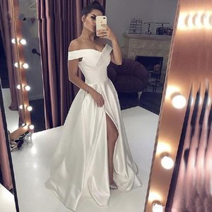 Sexy V Neck Long Ivory Evening Dresses With High Split Elegant A-line Off the Shoulder Special Occasion Formal Prom Dresses Party Gowns