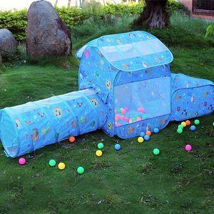 الخيام والملاجئ الأطفال خيمة في الأماكن المغلقة الزحف للطي لعبة منزل النفق المحيط الكرة بركة تنفس شبكة الأزهار طباعة كبيرة الفضاء 1