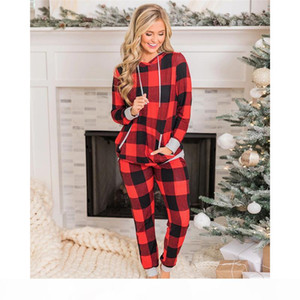 2020 Womens Christmas Pajamas Set Nightwear Winter Plaids Snowman Elk Xmas Theme Printed Sleepwear Set 2 Pieces Pants Suit