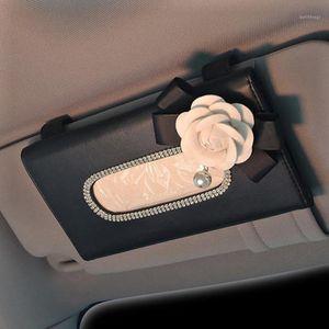 Camellia Crystal Rhinestone Автомобиль солнцезащитный козырек ткани коробка держатель кожаный цветок интерьер бумаги полотенце для хранения аксессуары1