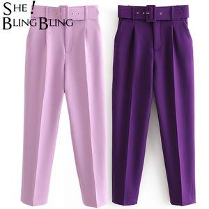 Sheblingbling mujeres Pantalones de cintura alta Office Lady señoras elegantes recta Carrera Fajas longitud de los pantalones ocasional del tobillo