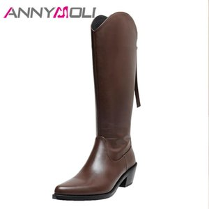 ANNYMOLI Genuine Leather High Heel Lady Long Boots Women Western Boots Shoes Pointed Toe Block Heels Zip Knee High Black