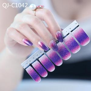 14PCS / folha prego Glitter Gradiente de cor Adesivos cobertura completa Nail Polish etiqueta DIY auto-adesivo decoração Art Wraps