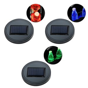 1pcs Solar Car Cup Holder Bottom Mat Pad Cover Lamp Bottle Drinks with LED Light Auto Car Decoration1