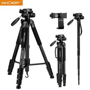 KF Concept TM2624L Compact Camera Noir Portable Trépied 70inch pour téléphone portable caméra vidéo 3-Way pivotant Pan Tilt Head