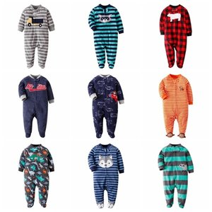 Fleece Wrap Foot Crawl Langarm Jumpsuit in Pyjamas Junge Baby Mädchen Kleidung Winter C0126