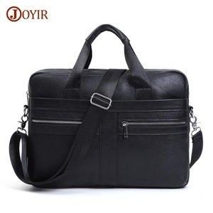 "Briefcases JOYIR Genuine Leather Men's Briefcase Male 15.6"" Laptop Casual Messenger Shoulder Bags Bag Documents High Quality"