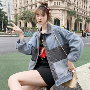 SexeMara fashion spring The New Loose Wild splice Hit color denim jacket free shipping