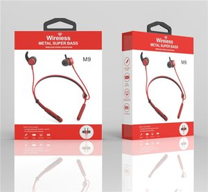 New M9 Wireless Bluetooth hearphone Neck Support Magnetic Sport Super Bass Earphone Hanging neck Sport for iphone Android headset