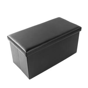 Billig Home Living Black Multifunktions-Falthocker Lagerung Osmanischer Fußhocker Praktischer PVC-Leder Rechteck Form Fußhocker