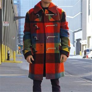 Man Splicing Wool Blends Coats Fashion Trend Grid Long Sleeve Button Outerwear Designer Male Winter New Casual Slim Lapel Long Coats
