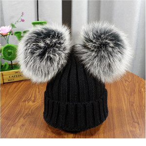 2020 New Double Natural Pom Poms Hat Girls Boys Winter Warm Fur Pompom Ball Knitted Beanies Hat Skullies Beanies Cotto jlltvQ