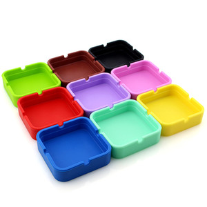1pcs Silicone Ashtray High Quality Square Green Ashtray Colorful Silicone Rubber Ashtray Rack Smoking Accessories