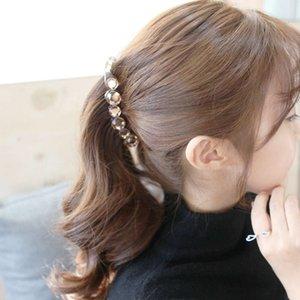 Korean ornament hairpin banana twist disc hair crystal horsetail clip