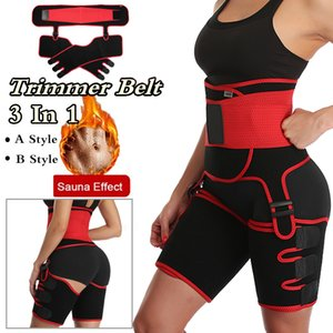 Women's 2 in 1 Waist Trainer Thigh Trimmer Neoprene Butt Lifter Shapewear Slimming Belt Double Compression Belt Leg Support 201106