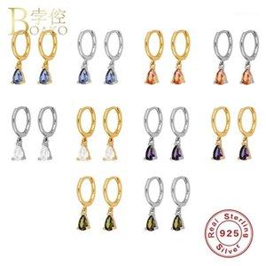 HOOP Huggie Boako S925 Sterling Sterling Bijoux de bijoux d'eau Drop Huggies Boucles d'oreilles pour les amateurs de femme Bling Rainbow Pendientes1