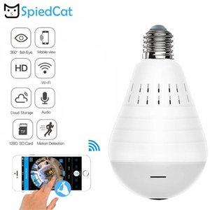 Smart Wifi IP Bulb Lamp 360 Degree panoramic Wireless CCTV HD Camera FishEye Home Security Monitor White Light Support TF Card