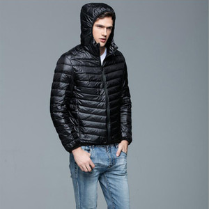Autumn Winter Light Down Jacket Men's Fashion Hooded Short Large Size Ultra-thin Lightweight Youth Slim Coat 4xl Mens Clothing