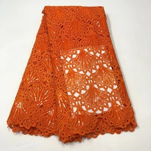 African Orange Guipure Lace Fabric 2020 High Quality Nigerian Cord Lace Fabric Water Soluble Wedding Lace For Dresses