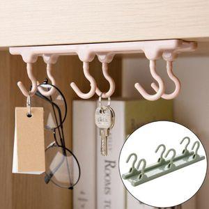 6 Haken über Tür Unter Regal-Aufhänger-Kleidung-Speicher-Tuch-Beutel-Rack Hooks Rails-Küche-Werkzeug