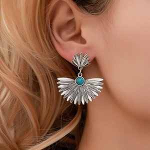 European and American hot selling earrings ethnic style metal leaf fan-shaped earrings retro turquoise earrings accessories wholesale