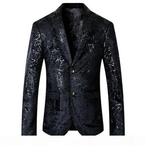 YUSHU Mens 2020 New Arrival Floral Blazer Men Wedding Prom Dress Blazers Plus Size 5XL Black Suit Jacket Men