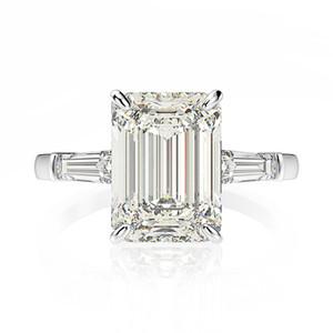 OEVAS BANDA DE LA BODA 7CT Creó el anillo de compromiso de diamantes Moissanite Sólido 925 Sterling Silver Joyería Fina Regalo de aniversario de las señoras