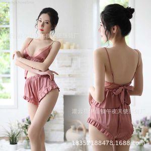 Sexy underwear high end sexy uniform seductive maid suit women's summer two piece ice pajamas