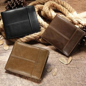 Neue Männer Echtes Lederhalter Business Anti-Theft Kreditkarte RFID Kurze Brieftasche Männliche Slim Münze Geldbörse Geld Tasche Q1220