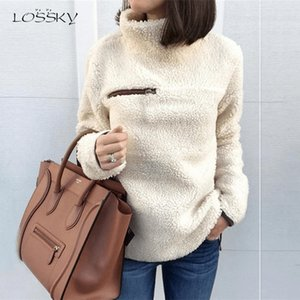 Lossky Women Sweatshirts Autumn Winter Top Long Sleeve Plush Warm Pullover Kpop Ladies Tops Women Clothes Pure Sweatshirt 201007