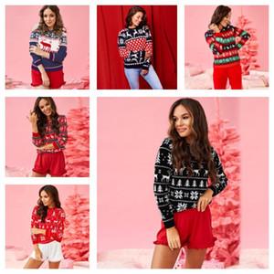 Los diseñadores de las mujeres tapa del suéter ciervos de la Navidad del leopardo del remiendo del cuello redondo de moda de manga larga con capucha otoño ropa de las mujeres E101902