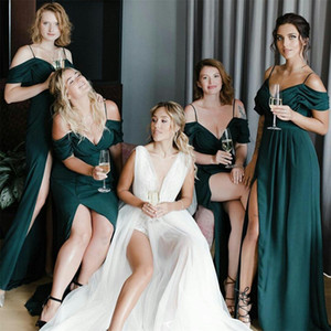 Dark Green A Line Bridesmaid Dresses 2020 Plus Size Spaghetti Evening Prom Gowns Side Slit Wedding Guest Dress