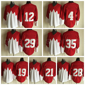 Uomini Ice Hockey 1972 Retrier 21 Stan Mikita Jersey 28 Bobby Clarke 29 Ken Dryden 35 Tony Esposito Yvan Cournoyer cucito rosso bianco