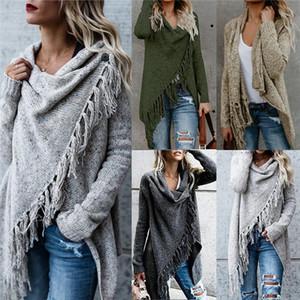 Fashion designer women's sweater irregular tassel knit cardigan style loose fashion poncho 5 colors sweater coat jacket women's se