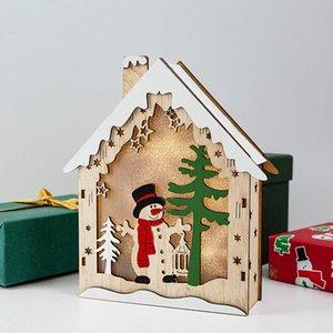 2020 Santa Claus Wooden Led Light House Ornament Christmas Decoration For Home Decor Xmas Gift Navidad Natal Happy New Year 2021 sqcItJ